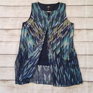 JM Collection Gold Accent Blue Multi Colored Tunic